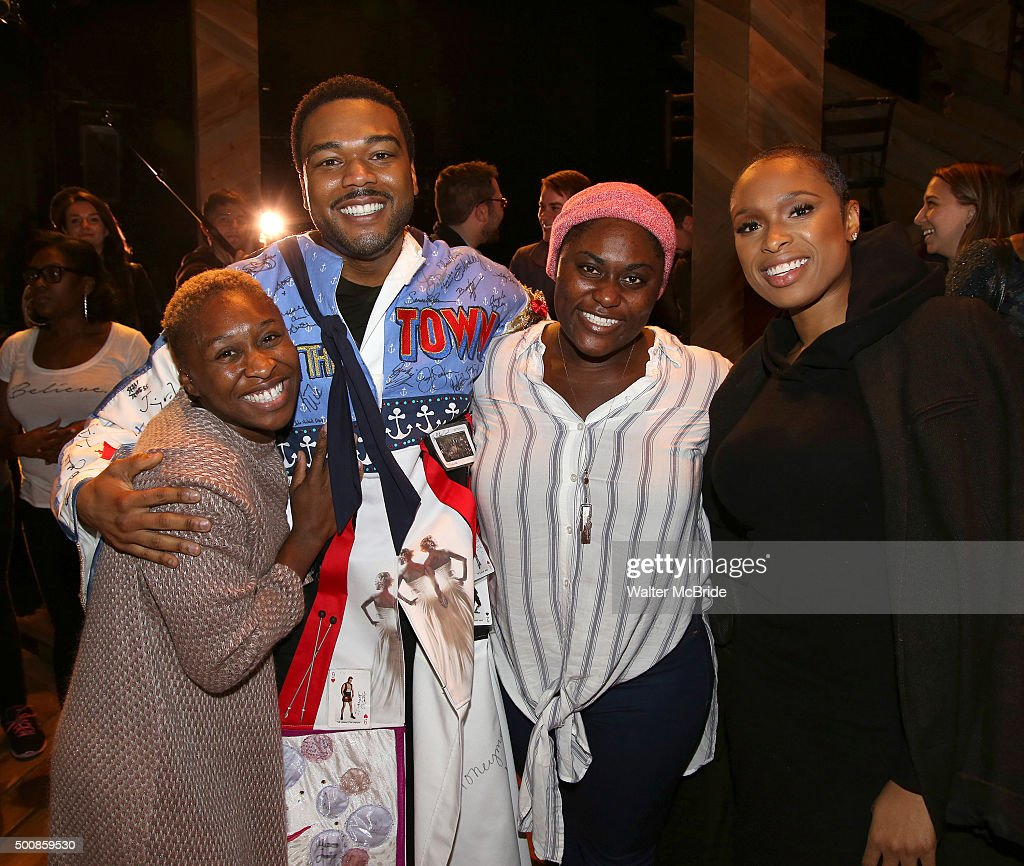 Cynthia Erivo, Grasan Kingsberry, Danielle Brooks and Jennifer Hudson during the Broadway Opening Night Actors' Equity Gypsy Robe Ceremony celebrating Grasan Kingsberry for 'The Color Purple' at the Bernard B. Jacobs Theatre on December 10, 2015 in New York City.
