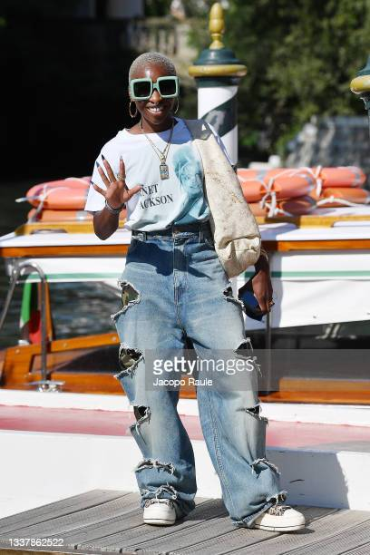 Cynthia Erivo is seen arriving at the 78th Venice International Film Festival on September 02, 2021 in Venice, Italy.