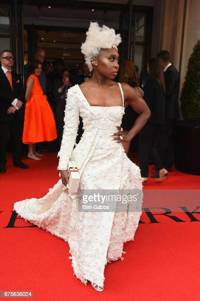 Cynthia Erivo leaves from The Mark Hotel for the 2017 'Rei Kawakubo/Comme des Garçons Art of the InBetween' Met Gala on May 1 2017 in New York City