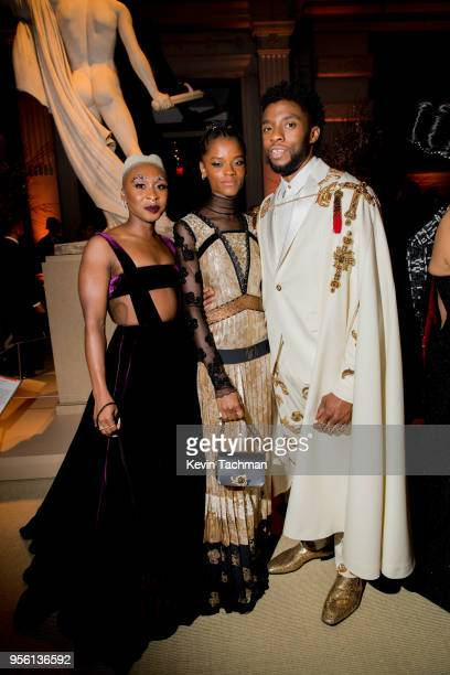 Cynthia Erivo, Letitia Wright and Chadwick Boseman attend the Heavenly Bodies: Fashion & The Catholic Imagination Costume Institute Gala at The...
