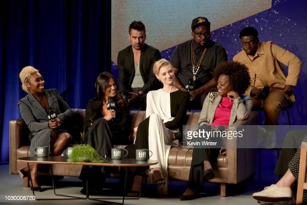 Cynthia Erivo Michelle Rodriguez Colin Farrell Elizabeth Debicki Brian Tyree Henry Viola Davis and Daniel Kaluuya attend the 'Widows' press...