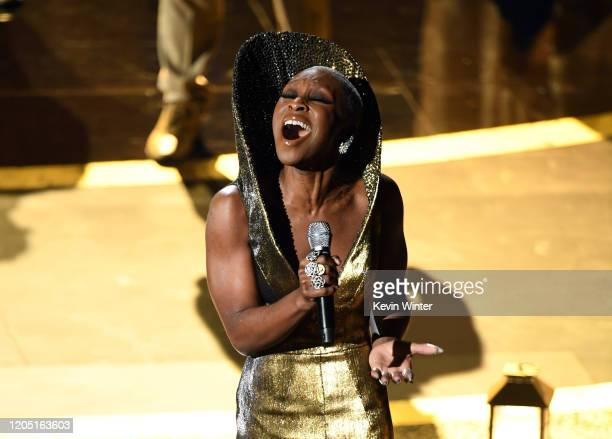 Cynthia Erivo performs onstage during the 92nd Annual Academy Awards at Dolby Theatre on February 09 2020 in Hollywood California