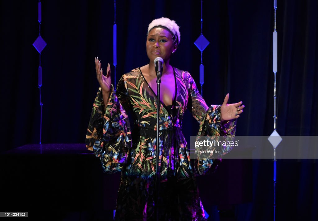 Cynthia Erivo performs onstage during the Hollywood Foreign Press Association's Grants Banquet at The Beverly Hilton Hotel on August 9, 2018 in Beverly Hills, California.