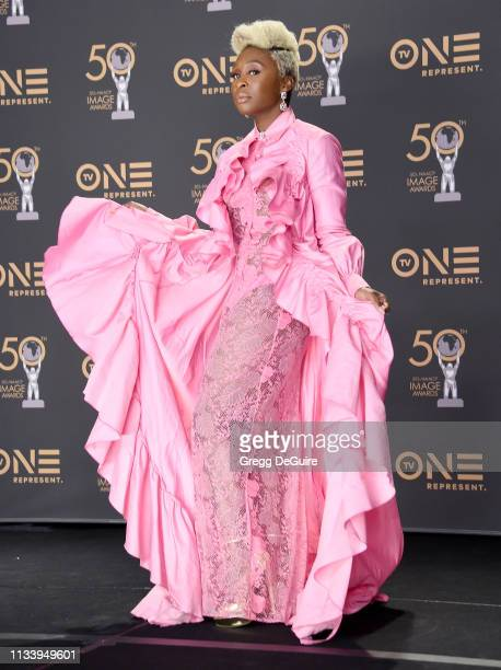 Cynthia Erivo poses in the Press Room at the 50th NAACP Image Awards at Dolby Theatre on March 30 2019 in Hollywood California