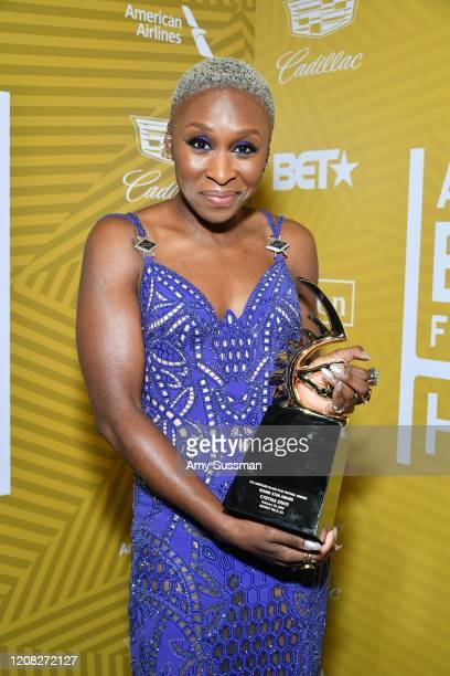 Cynthia Erivo poses with the Rising Star Award backstage during the American Black Film Festival Honors Awards Ceremony at The Beverly Hilton Hotel...