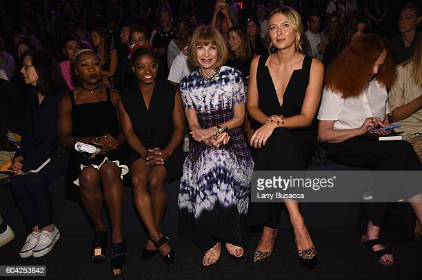 Cynthia Erivo Simone Biles Anna Wintour and Maria Sharapova attend the Vera Wang Collection fashion show during New York Fashion Week The Shows at...