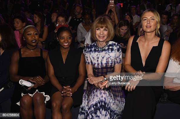Cynthia Erivo Simone Biles Anna Wintour and Maria Sharapova attends the Vera Wang Collection fashion show during New York Fashion Week The Shows at...