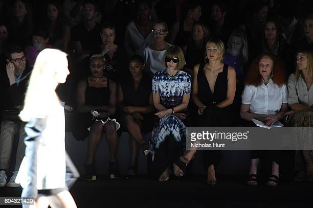 Cynthia Erivo Simone Biles Anna Wintour Maria Sharapova and Grace Coddington attend the Vera Wang Collection fashion show during New York Fashion...