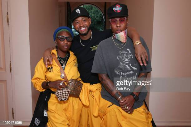 Cynthia Erivo Terrence J and Lena Waithe attend the Teyana Taylor The Album Listening Party on June 17 2020 in Beverly Hills California