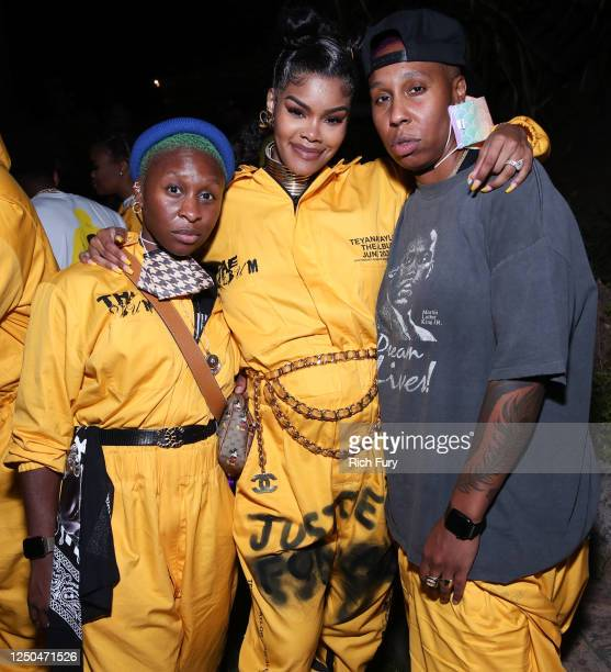 Cynthia Erivo Teyana Taylor and Lena Waithe attend the Teyana Taylor The Album Listening Party on June 17 2020 in Beverly Hills California
