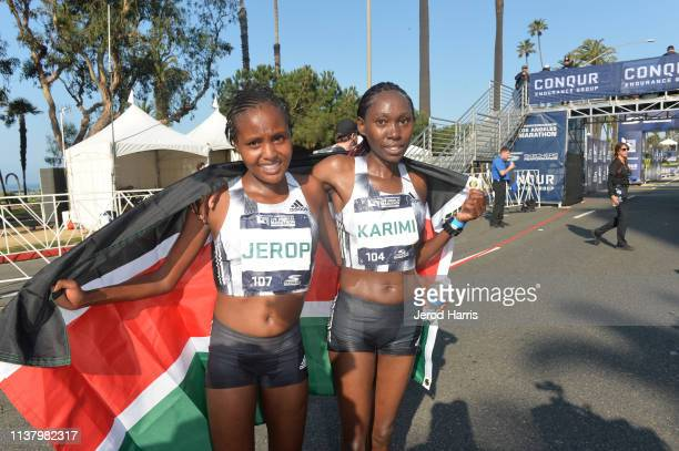 Cynthia Jerop and Lucy Karimi are the second and third female runners to cross the finish line the 34th Running Of The Skechers Los Angeles Marathon...