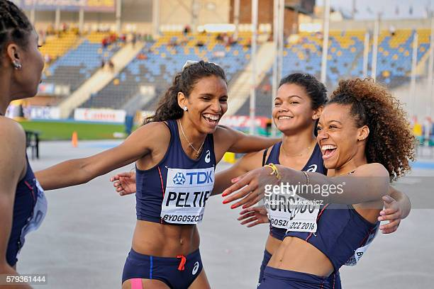 Cynthia Leduc and Tamara Murcia and Fanny Peltier and Estelle Raffai all from France celebrate silver medals in womenÕs 4x100 meters relay final...