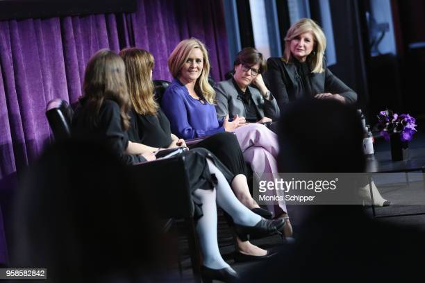 Cynthia Littleton Amber Tamblyn Samantha Bee Kara Swisher and Arianna Huffington speak onstage during the 'Full Frontal with Samantha Bee' FYC Event...