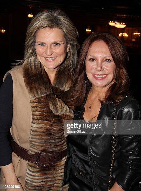 Cynthia McFadden and Marlo Thomas pose backstage at The hit musical Priscilla Queen of The Desert on Broadway at The Palace Theater on March 18 2011...