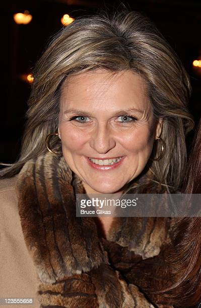 Cynthia McFadden poses backstage at The hit musical Priscilla Queen of The Desert on Broadway at The Palace Theater on March 18 2011 in New York City