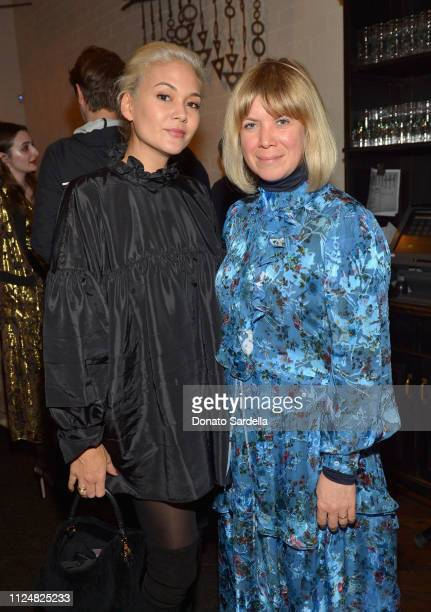 Cynthia Mittweg and guest attend Liz Goldwyn and MATCHESFASHIONCOM celebrate the launch of Frieze LA at Gracias Madre on February 13 2019 in West...