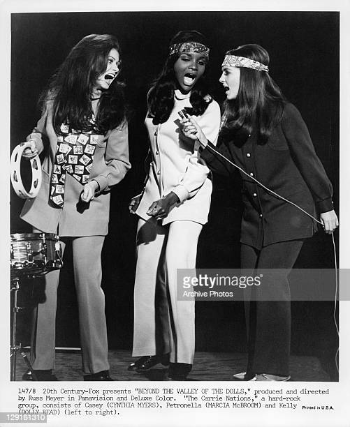 Cynthia Myers, Marcia McBroom, and Dolly Read are the Carrie Nations in a scene from the film 'Beyond The Valley Of The Dolls', 1970.