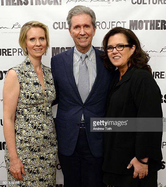 Cynthia Nixon Alexander Sanger and Rosie O'Donnell attend MotherStruck opening night at the Lynn Redgrave Theatre on December 14 2015 in New York City