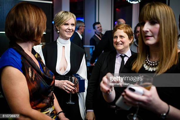 Cynthia Nixon and Christine Marinoni attend the 'Quiet Passion Pre Premiere at Glashuette Lounge' on February 14 2016 in Berlin Germany