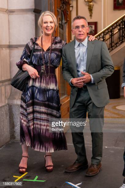 """Cynthia Nixon and David Eigenberg are seen filming """"And Just Like That..."""" the follow up series to """"Sex and the City"""" in Midtown on July 23, 2021 in..."""