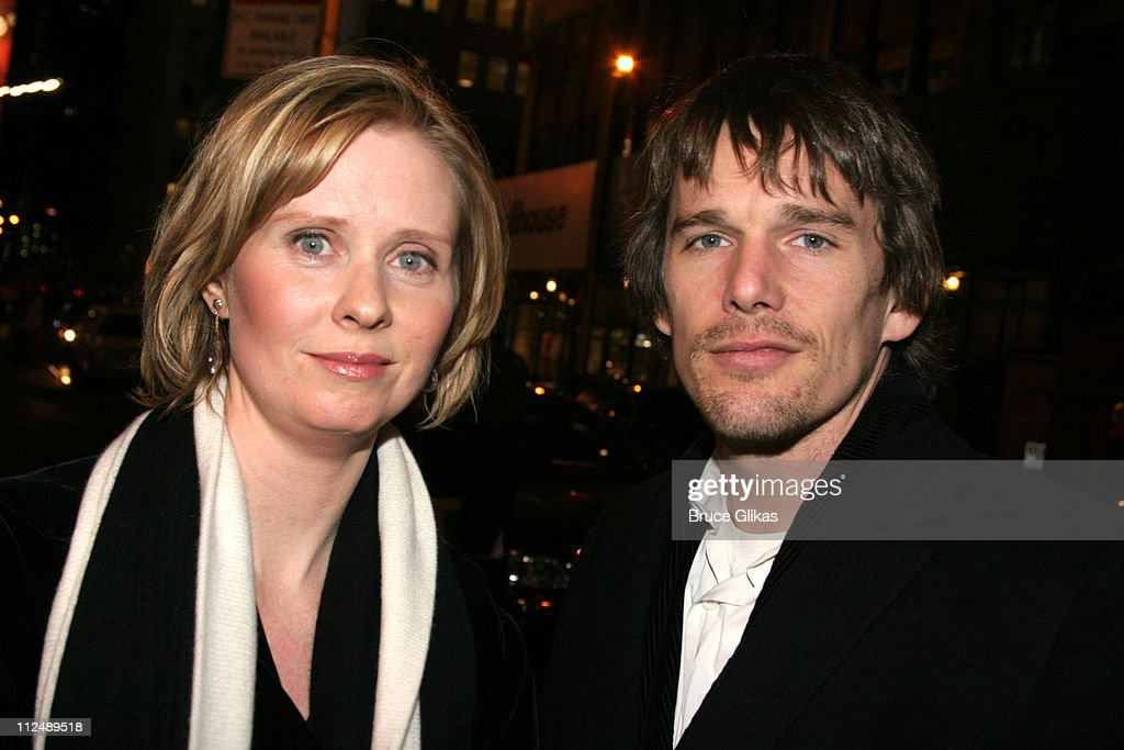 Cynthia Nixon and Ethan Hawke during The All-Star Stephen Sondheim 75th Birthday Celebration 'Children and Art' - Inside at Broadway's New Amsterdam Theatre in New York City, New York, United States.