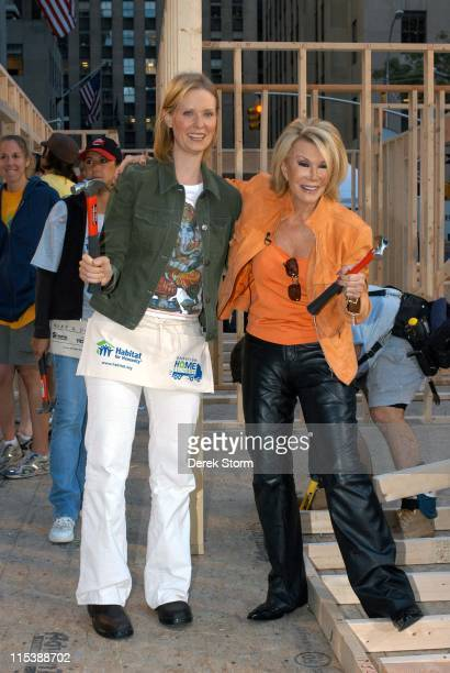 Cynthia Nixon and Joan Rivers during Habitat for Humanity on the Today Show September 28 2005 at Today Show Studios in New York City New York United...