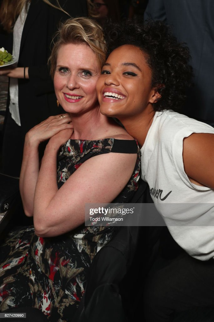 Cynthia Nixon and Kiersey Clemons attend 'The Only Living Boy In New York' Premiere after party at The Rainbow Room on August 7, 2017 in New York City.