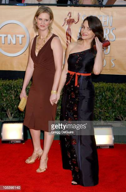 Cynthia Nixon and Kristin Davis during 11th Annual Screen Actors Guild Awards Arrivals at Shrine Auditorium in Los Angeles California United States