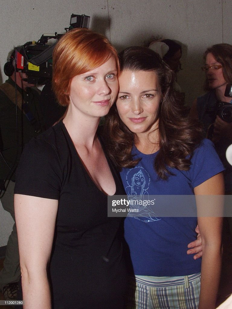 Cynthia Nixon and Kristin Davis during 'Brave New World' Open Rehearsals Presentation at Chelsea Studios in New York City, New York, United States.
