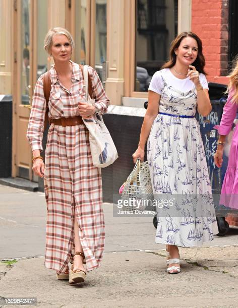 """Cynthia Nixon and Kristin Davis seen on the set of """"And Just Like That..."""" the follow up series to """"Sex and the City"""" in SoHo on July 20, 2021 in New..."""