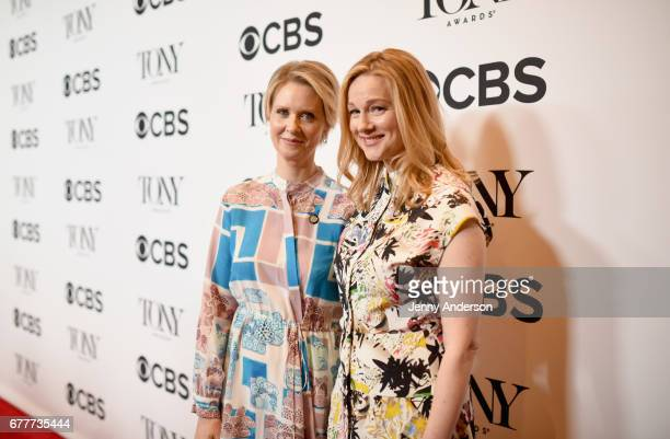 Cynthia Nixon and Laura Linney attend the 2017 Tony Awards Meet The Nominees Press Junket at the Sofitel New York on May 3 2017 in New York City