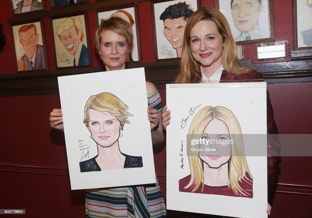 Cynthia Nixon and Laura Linney get honored for their performances in 'Lillian Hellman's The Little Foxes' on Broadway with caricature portraits at Sardis on June 29, 2017 in New York City.
