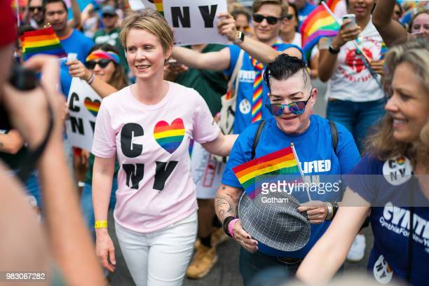 Cynthia Nixon and Lea DeLaria attend the 2018 New York City Pride March on June 24 2018 in New York City