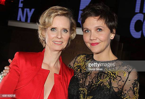 Cynthia Nixon and Maggie Gyllenhaal at The Opening Night After Party for The Real Thing on Broadway at The Liberty Theatre on October 30 2014 in New...