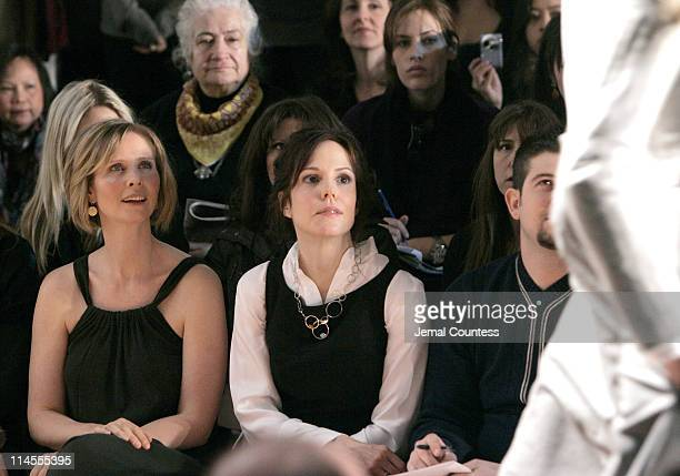 Cynthia Nixon and Mary Louise Parker during MercedesBenz Fashion Week Fall 2007 Chaiken Front Row and Backstage at The Salon Bryant Park in New York...