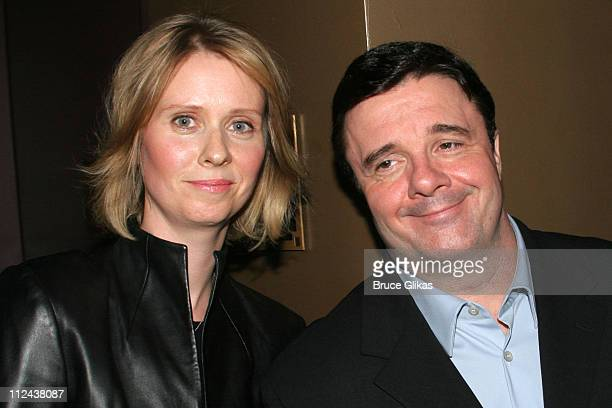 Cynthia Nixon and Nathan Lane during New York Casting Society of America 21st Annual Artio's Awards at American Airlines Theater Penthouse in New...