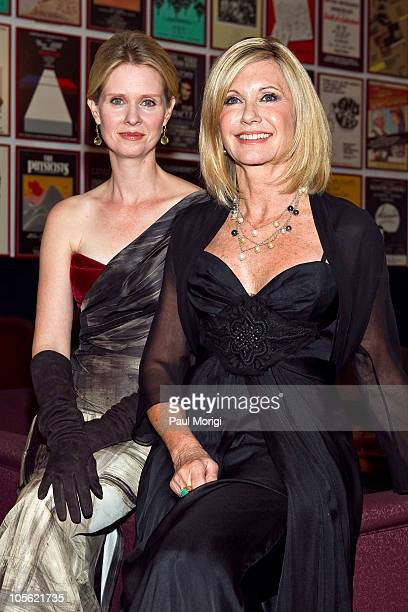 Cynthia Nixon and Olivia NewtonJohn pose for a photo backstage at Honoring The Promise celebrates the 30th anniversary of the Promise at The John F...