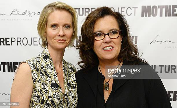 Cynthia Nixon and Rosie O'Donnell attend MotherStruck opening night at the Lynn Redgrave Theatre on December 14 2015 in New York City