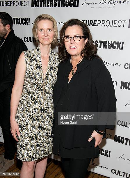 Cynthia Nixon and Rosie O'Donnell attend the MotherStruck opening night at the Lynn Redgrave Theatre on December 14 2015 in New York City