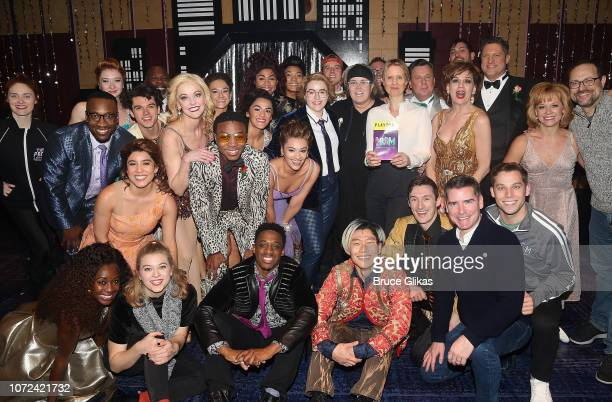 Cynthia Nixon and Rosie O'Donnell pose with the cast backstage at the hit musical 'The Prom' on Broadway at The Longacre Theatre on December 12 2018...