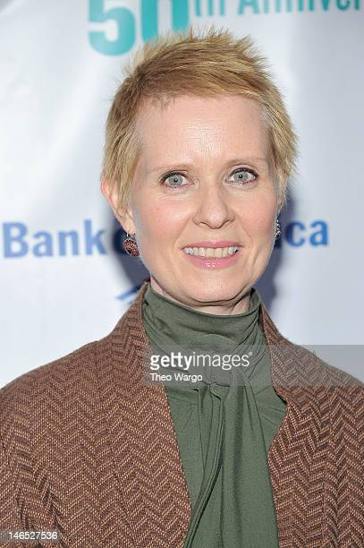 Cynthia Nixon arrives at the Public Theater 50th Anniversary Gala at Delacorte Theater on June 18, 2012 in New York City.