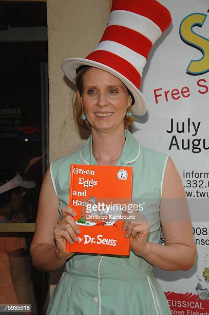 Cynthia Nixon arrives for the Dr Seuss' Green Eggs and Ham reading at The Lucille Lortel Theatre on August 2 2007 in New York City