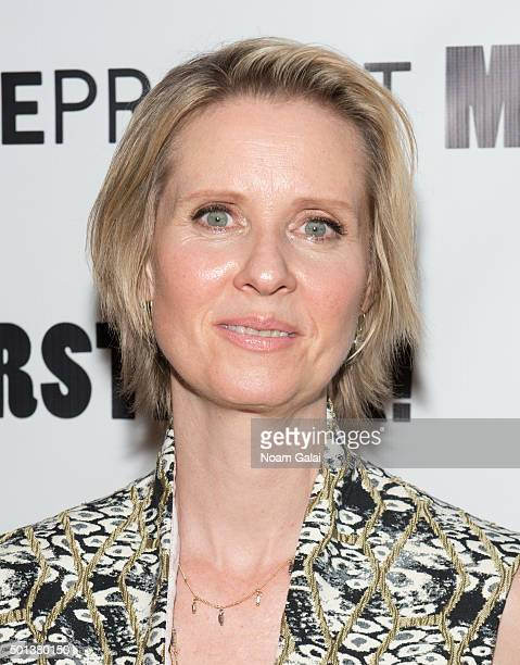 Cynthia Nixon attends the MotherStruck opening night at the Lynn Redgrave Theatre on December 14 2015 in New York City