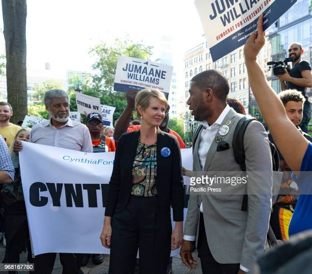 Cynthia Nixon candidate for New York Governor Jumaane Williams candidate for Lieutenant Governor attend rally to get names on Democratic Party...