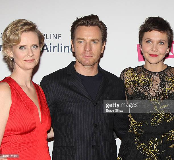 Cynthia Nixon Ewan McGregor and Maggie Gyllenhaal at The Opening Night of The Real Thing on Broadway at American Airlines Theatre on October 30 2014...