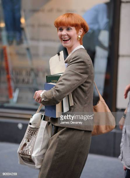 Cynthia Nixon filming on location for 'Sex And The City 2' on the Streets of Manhattan on September 9 2009 in New York City