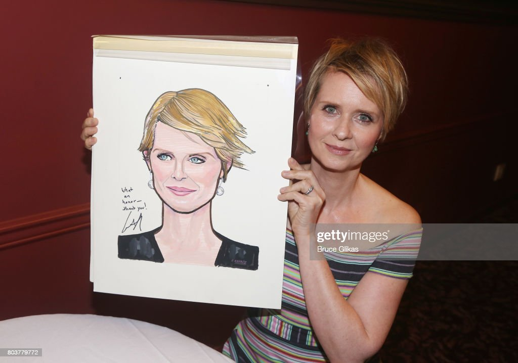 Cynthia Nixon gets honored for her performance in 'Lillian Hellman's The Little Foxes' on Broadway with a caricature portrait at Sardis on June 29, 2017 in New York City.