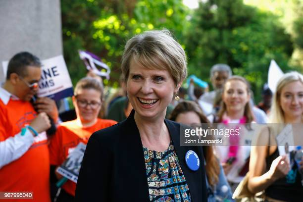 Cynthia Nixon greets New Yorkers during the petitioning parade for New York State Governor at Union Square Park on June 5 2018 in New York City