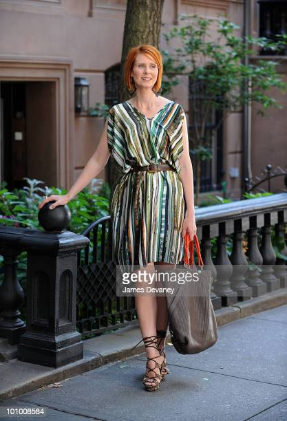 Cynthia Nixon is seen during production on 'Sex And The City 2' on the streets of Manhattan on September 4 2009 in New York City