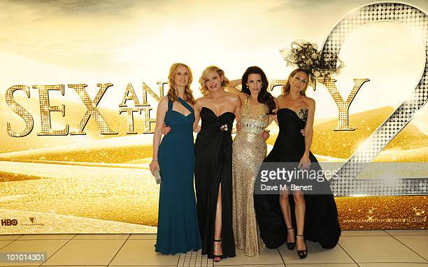Cynthia Nixon Kim Cattrall Kristin Davis and Sarah Jessica Parker arrive at the UK film premiere of 'Sex and the City 2' at Odeon Leicester Square on...